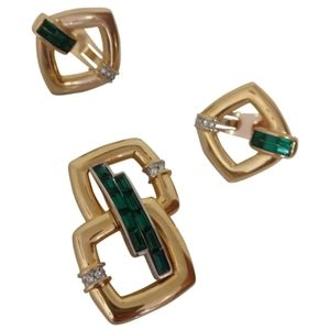gold plated earrings and brooch with faux emeralds